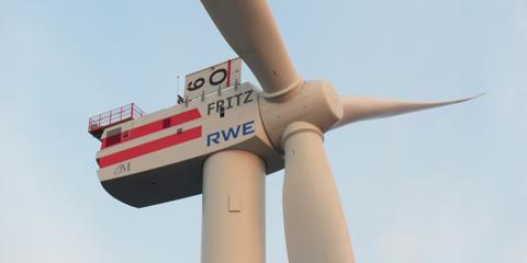 Die erste 6 MW REpower-Turbine für das erste deutsche RWE - offshore Windkraftprojekt Innogy 1 - 40 km vor Juist - trug den Namen Fritz. Quelle RWE